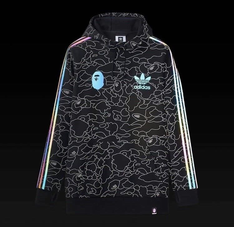 eda4060d55c6 Adidas x Bape Tech Hoodie Size M a Bathing Ape Pullover Black Schwarz  Sweatshirt Browse the womens fitness clothing for workout tops