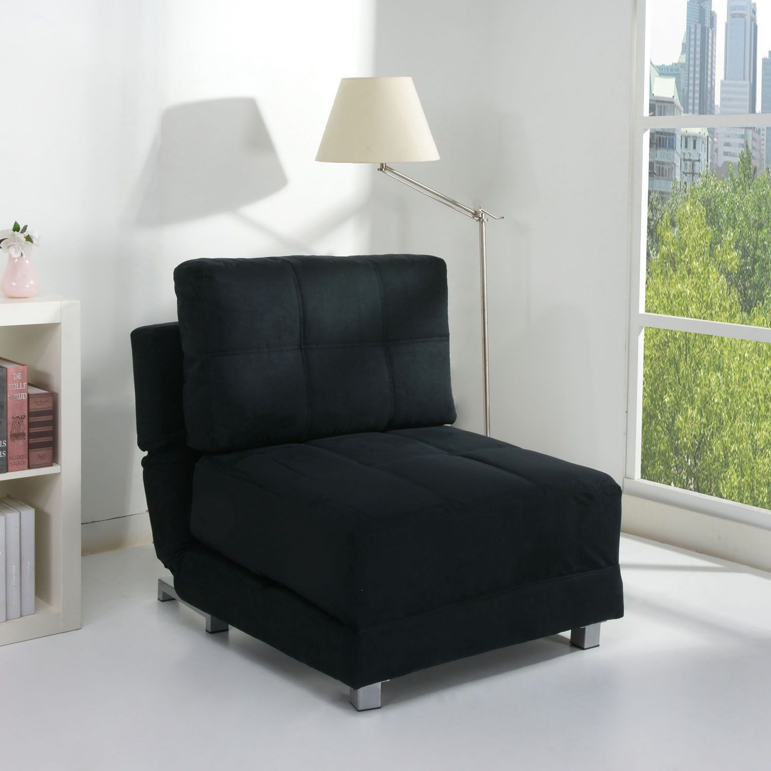 Black chair bed pull out sofa bed padded foam cushions faux