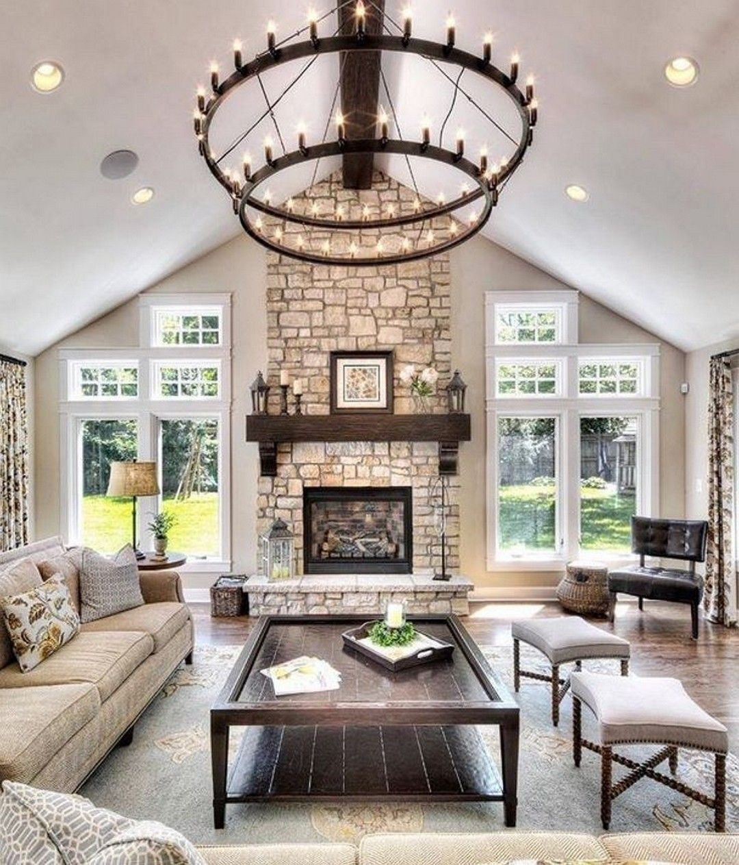 Great Home Design Ideas: Farmhouse Living Room With A Stone Fireplace Ideas Http