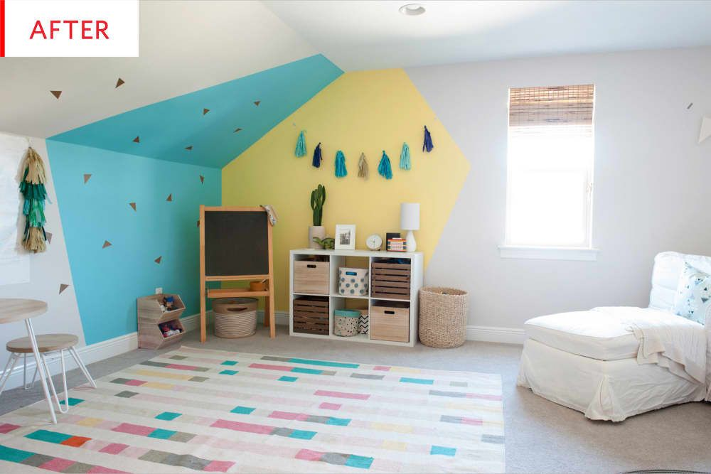 Before After A Kids Playroom Gets Way More Playful With A Geometric Paint Job Kids Playroom Playroom Playroom Paint