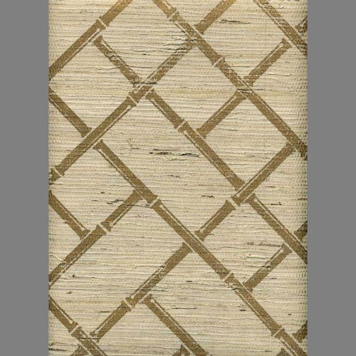 Printed Grasscloth Wallpaper: Ivory Grasscloth With Gold Bamboo Lattice Screen Print