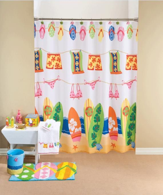 Hanging Loose Fabric Shower Curtain Beach Shower Curtains