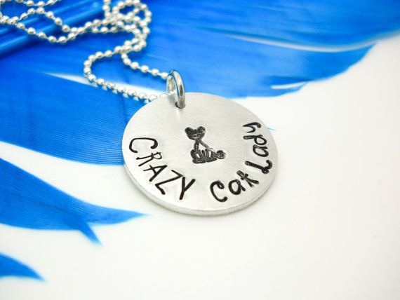 Personalized necklace - Crazy Cat Lady - hand stamped necklace - custom jewelry