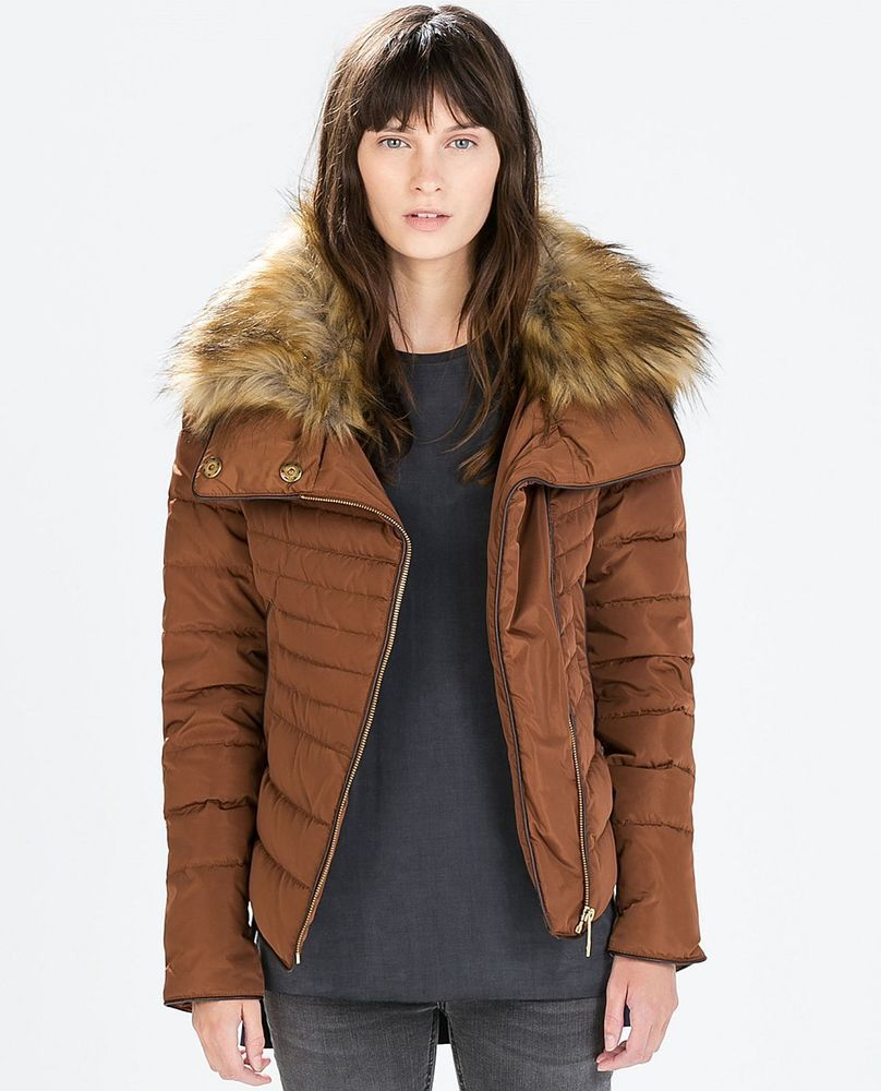 ZARA Woman BNWT Russet Parka Quilted Jacket Coat with Detachable ...