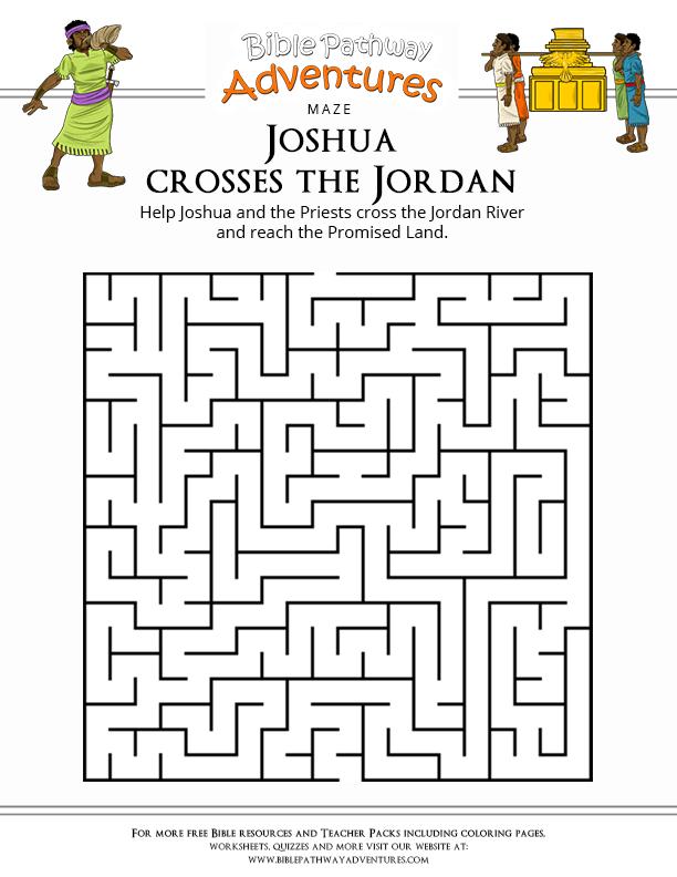 Joshua Crosses The Jordan Bible Mazes Joshua Sunday School Crossword