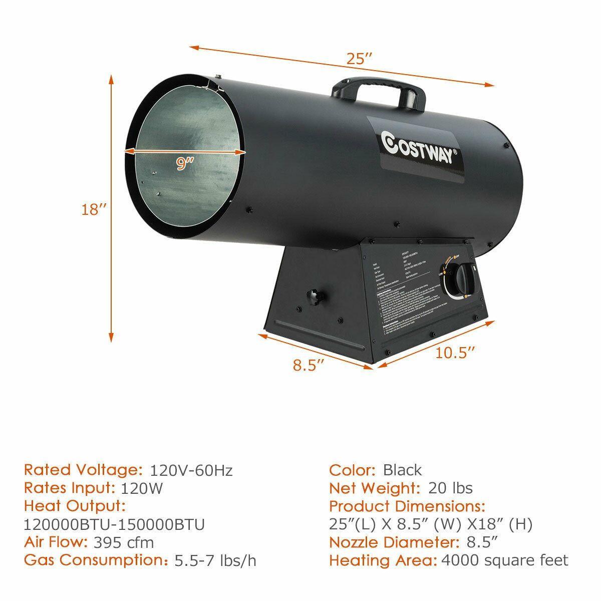 150000BTU Portable Air Propane Heater with Adjustable