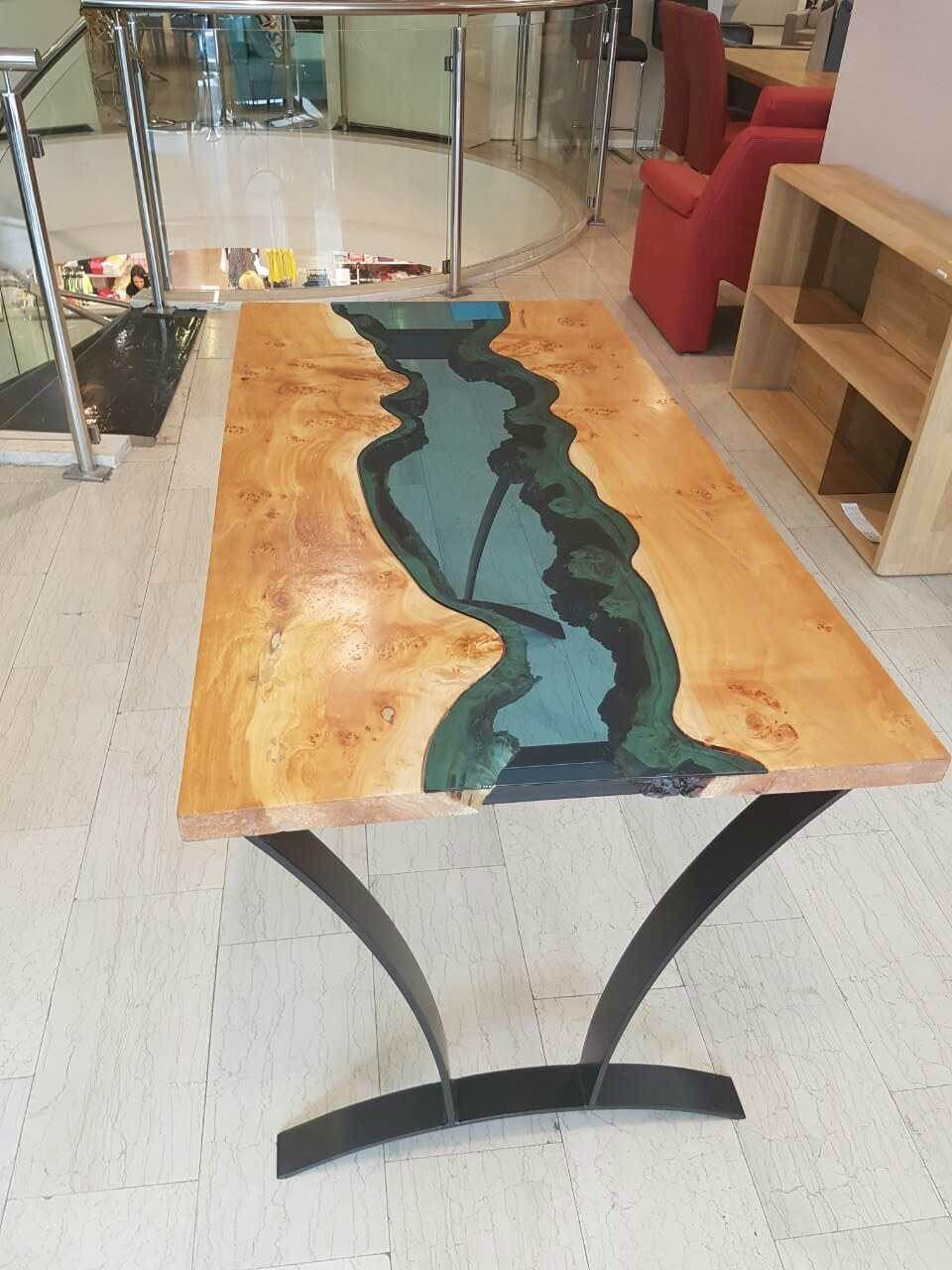 River Wood Glass Table Table Wood Slab Table Resin Table