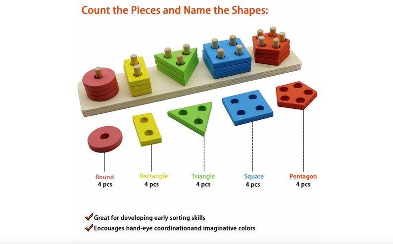 Photo of Wooden Educational Preescolar niños juguetes para 1 2 3 4 5 años de edad niños niñas de edad reconocimiento de clasificación geométrica Bloques de tabla Puzzle para los niños