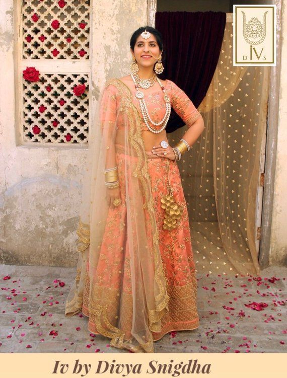 6273cf470 Peach embroidered wedding lehenga, indian bridal lengha, traditional ...
