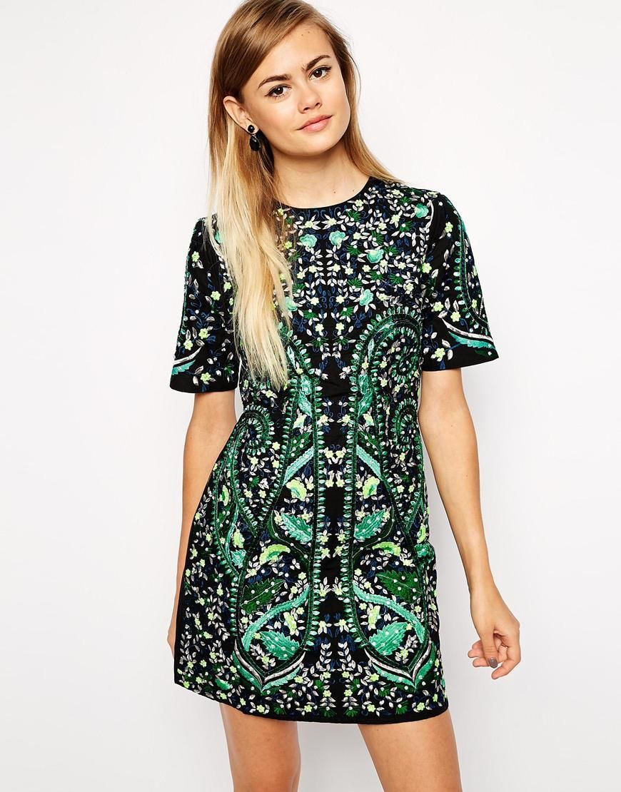 Premium embroidered shift dress fashion online formal and shopping