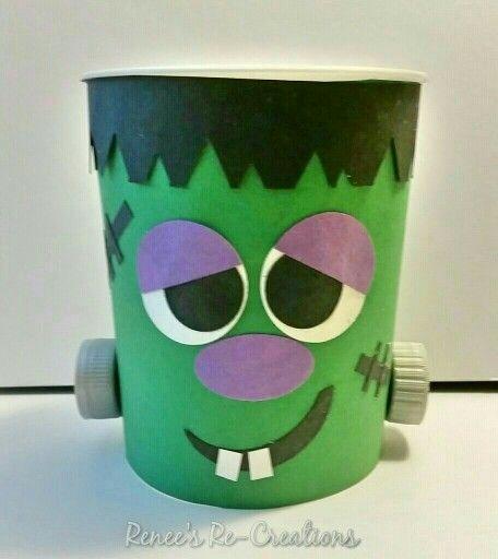 Frankenstein Halloween Craft For Kids Recycled 32oz Yogurt
