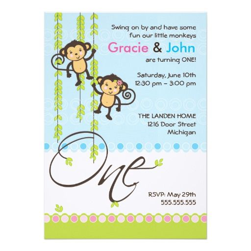 Twin Boy And Girl First Birthday Invitation 5 X 7