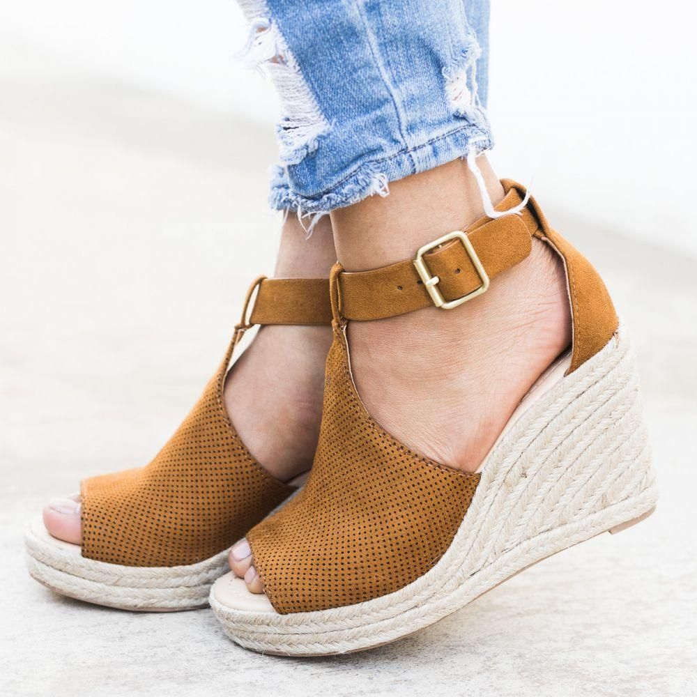 7aa6ad8183a1b Women Chic Espadrille Wedges Sandals with Adjustable Buckle in 2019 ...