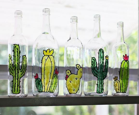 Como pintar Cactus en Botellas de Vidrio Manualidades Gratis