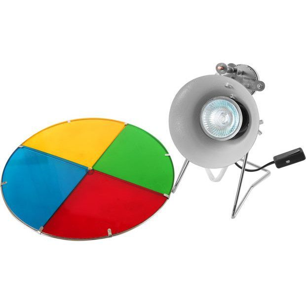 Silver Tinsel Christmas Tree With Color Wheel: Revolving Color Wheel