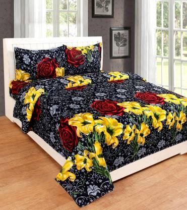 King Size Bedsheet Cotton Fabric Bedspread Sanganeri Jaipuri Bedding Set 3Pcs
