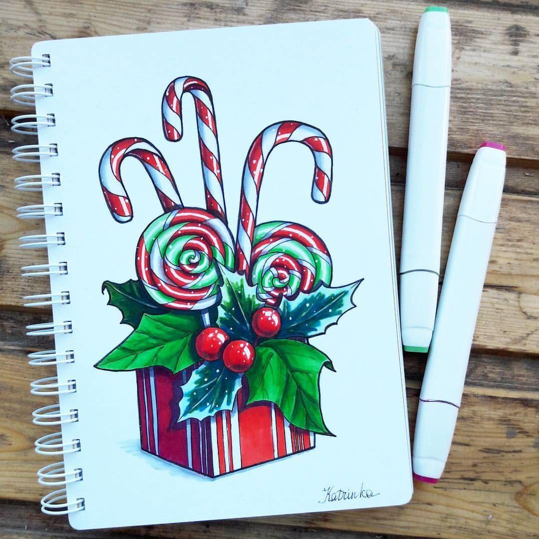 Что можно нарисовать фломастерами открытки рождество