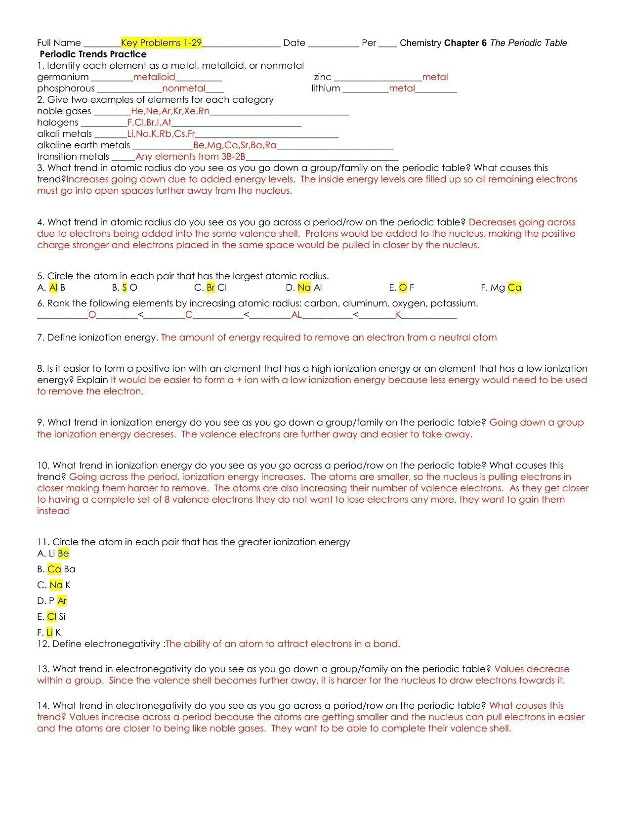 Formal Valence Electrons Worksheet Answers