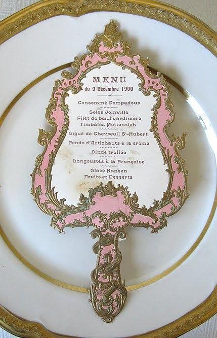 Beautiful old menu card