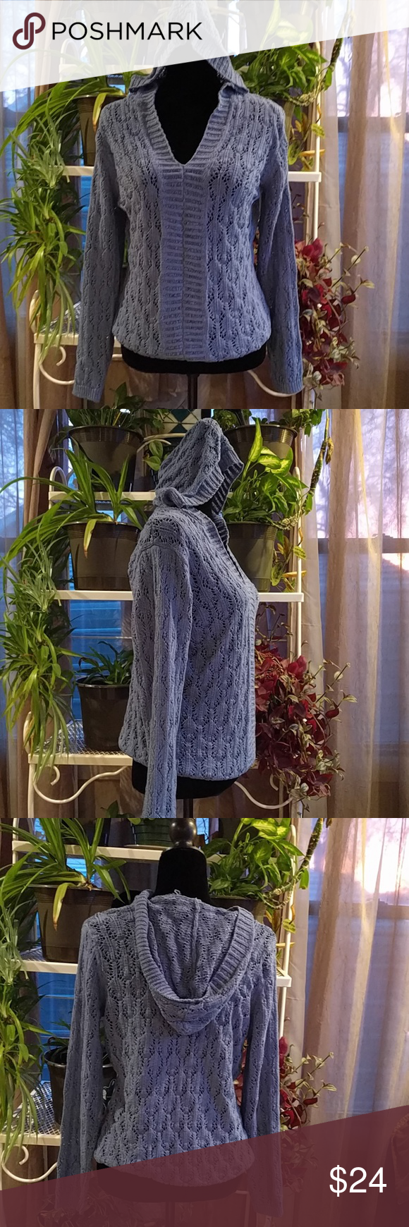 Blue Niche knit hooded sweater | Hooded sweater, Crochet style and ...