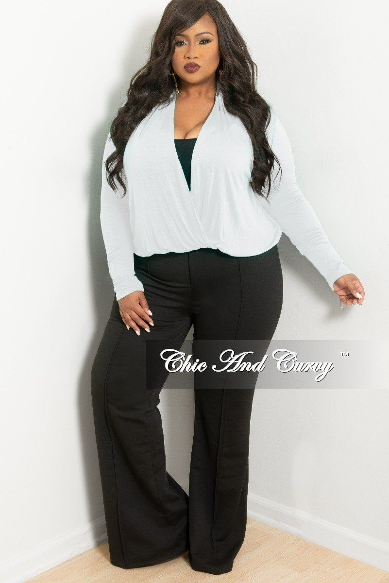 06b0b6d6a04 Plus Size Long Sleeve Top w  Twist Front in White – Chic And Curvy ...