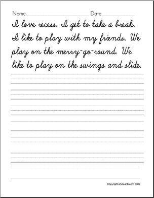 Cursive Writing Handwriting Practice Recess Theme Abcteach Cursive Writing Cursive Practice Cursive Handwriting Worksheets