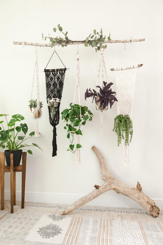 BohoChic Dorm Decor~ Modern Bohemian Decor Urban Wall Accent Wall Accent 6 Natural CROCHET Jute Hanging Planters Plant Lover Gift Set