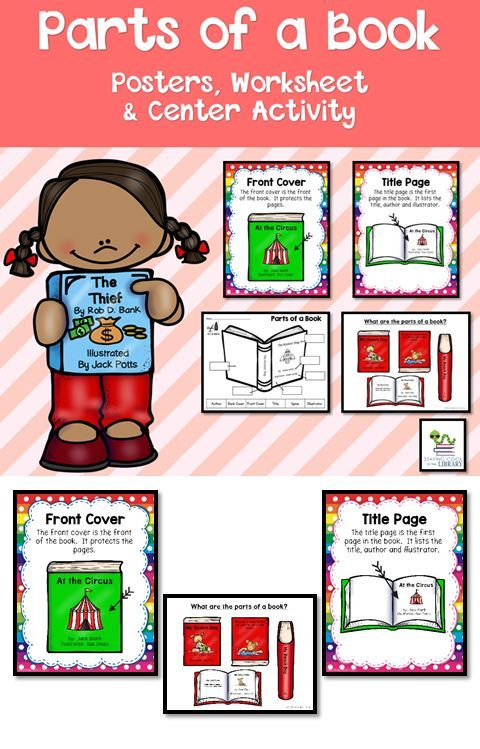 Parts of a Book | Parts of a book, Library lesson plans ...