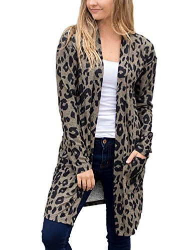cc5600709f66 ANRABESS Womens Long Sleeve Open Front Leopard Print Knitting Cardigan  Sweater Kimono Coat Outwear with Pockets