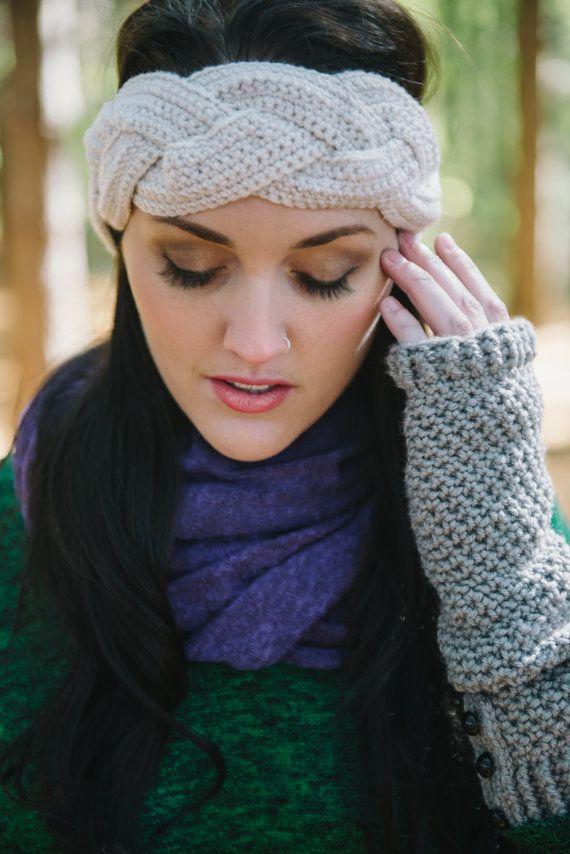 Crochet Braid Headband in Cream by Murabelle on Etsy b19c6bf9ca4