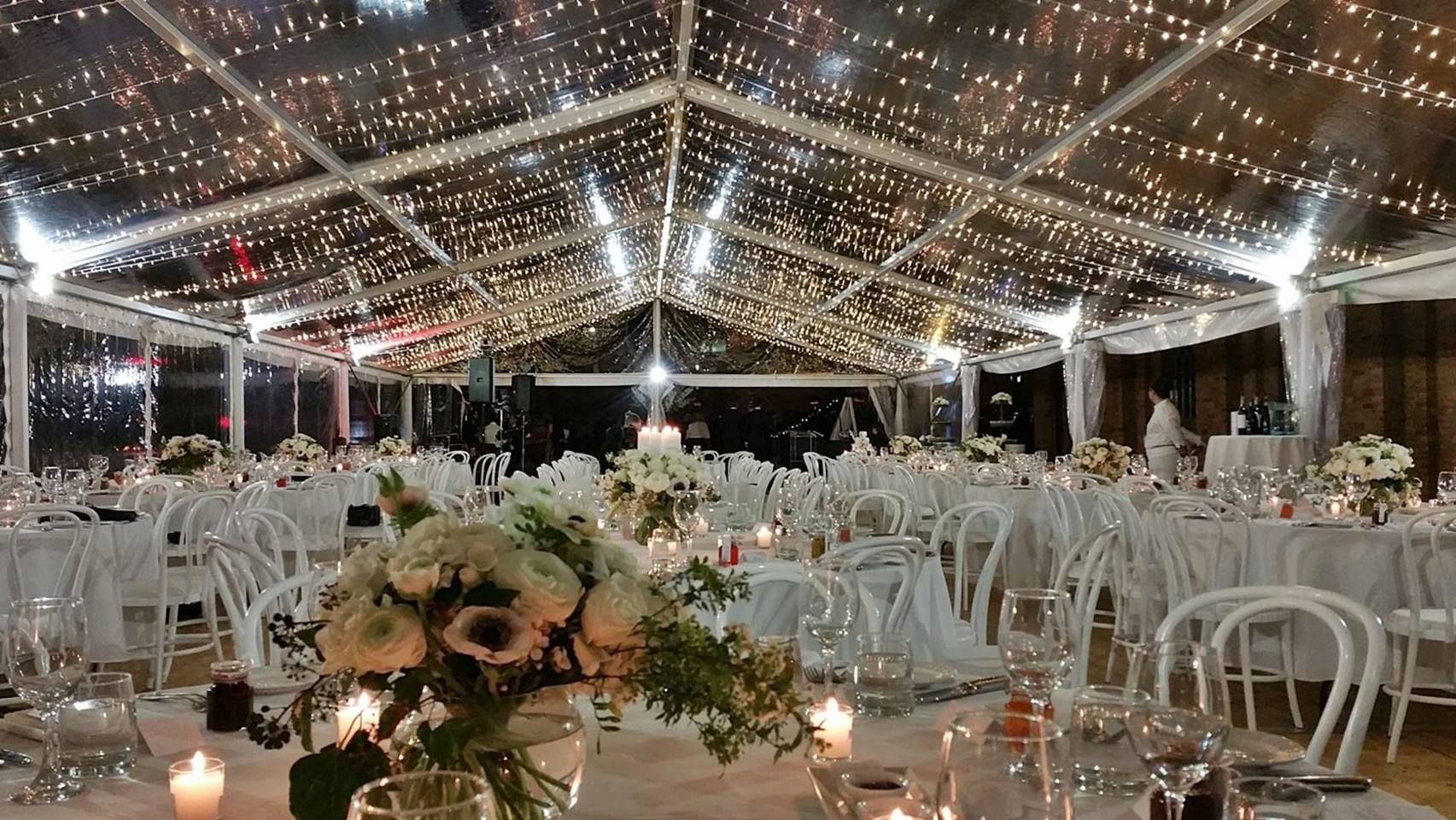 X Clear Wedding Marquee With Fairy Lights Halogen And Wooden Flooring