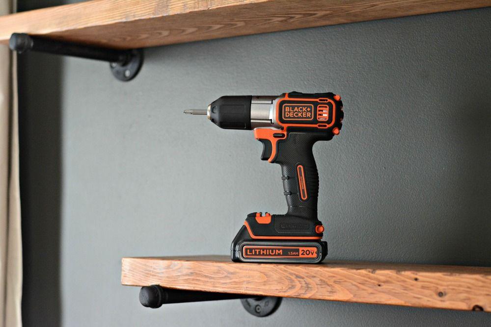 Diy industrial shelving tutorial blackdecker drill