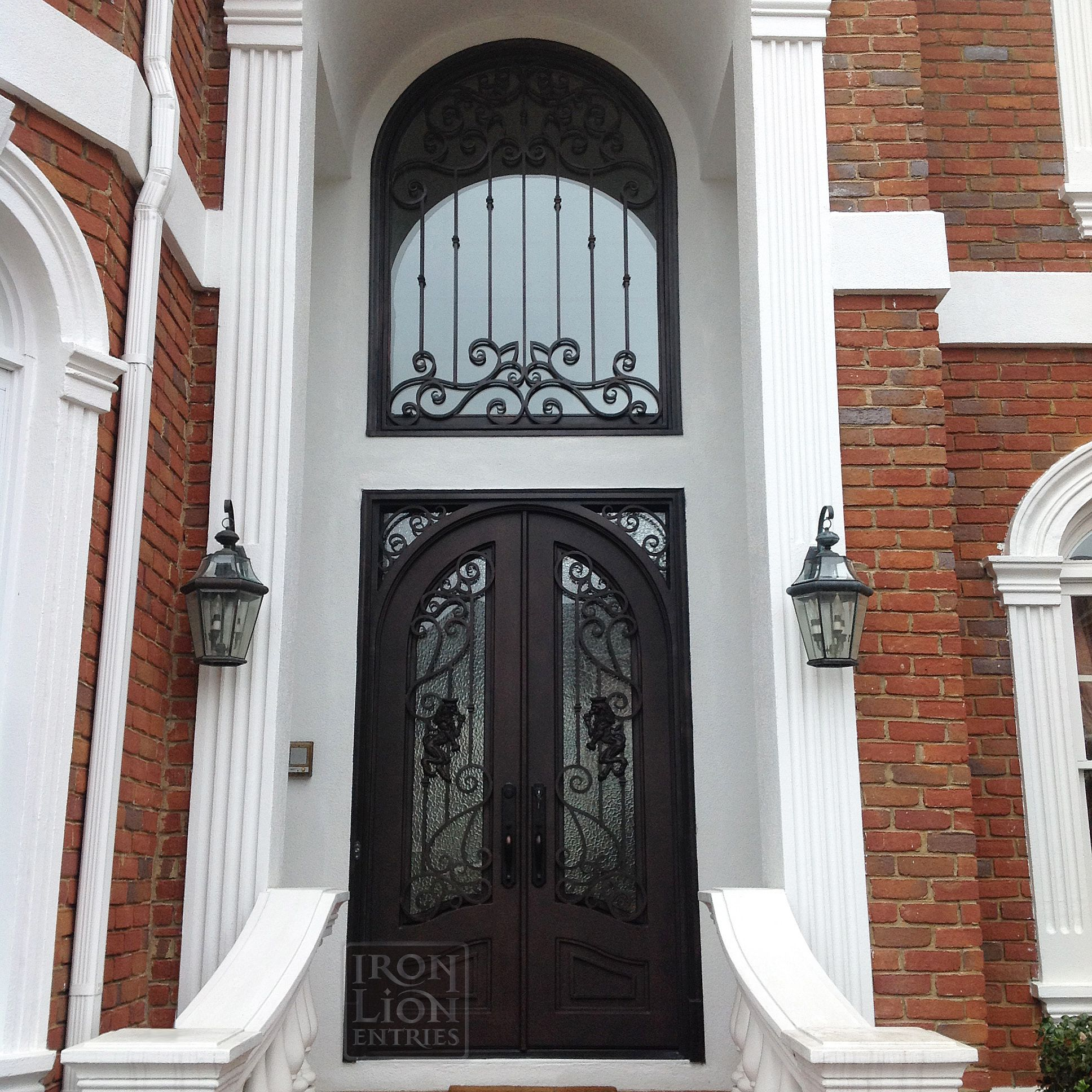 Wrought Iron Entry Door Ironentrydoor Iron Door Ile Custom Iron Door And Transom Install In