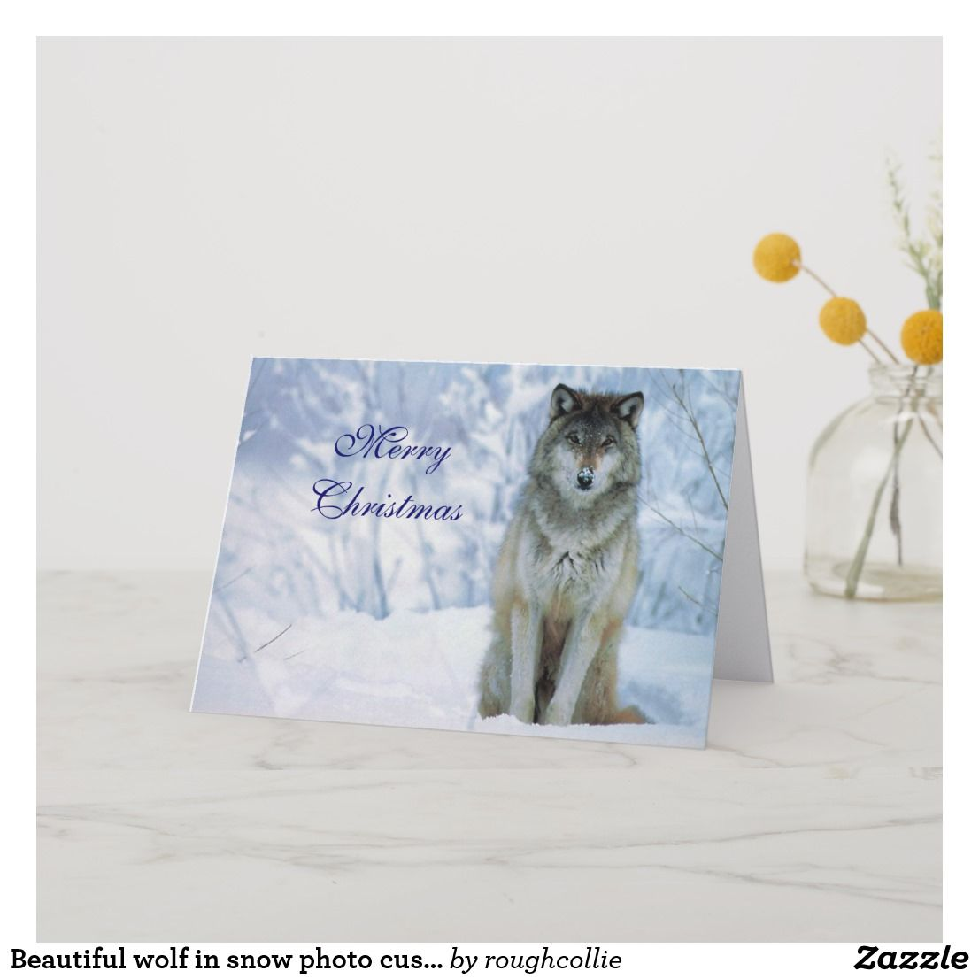 Beautiful wolf in snow photo custom christmas card | Christmas Cards ...