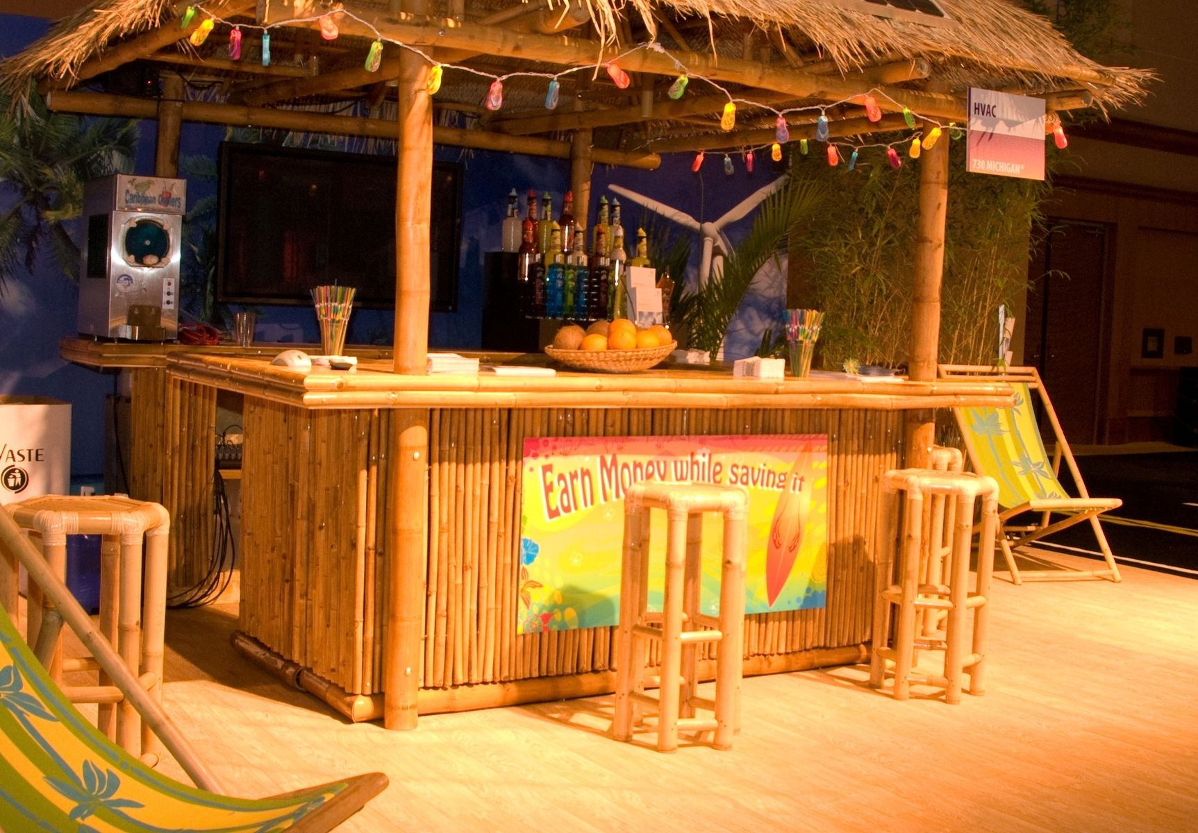 tiki bar with bamboo roof made from ecofriendly bamboo this tiki bar is lightweight durable and strong requiring