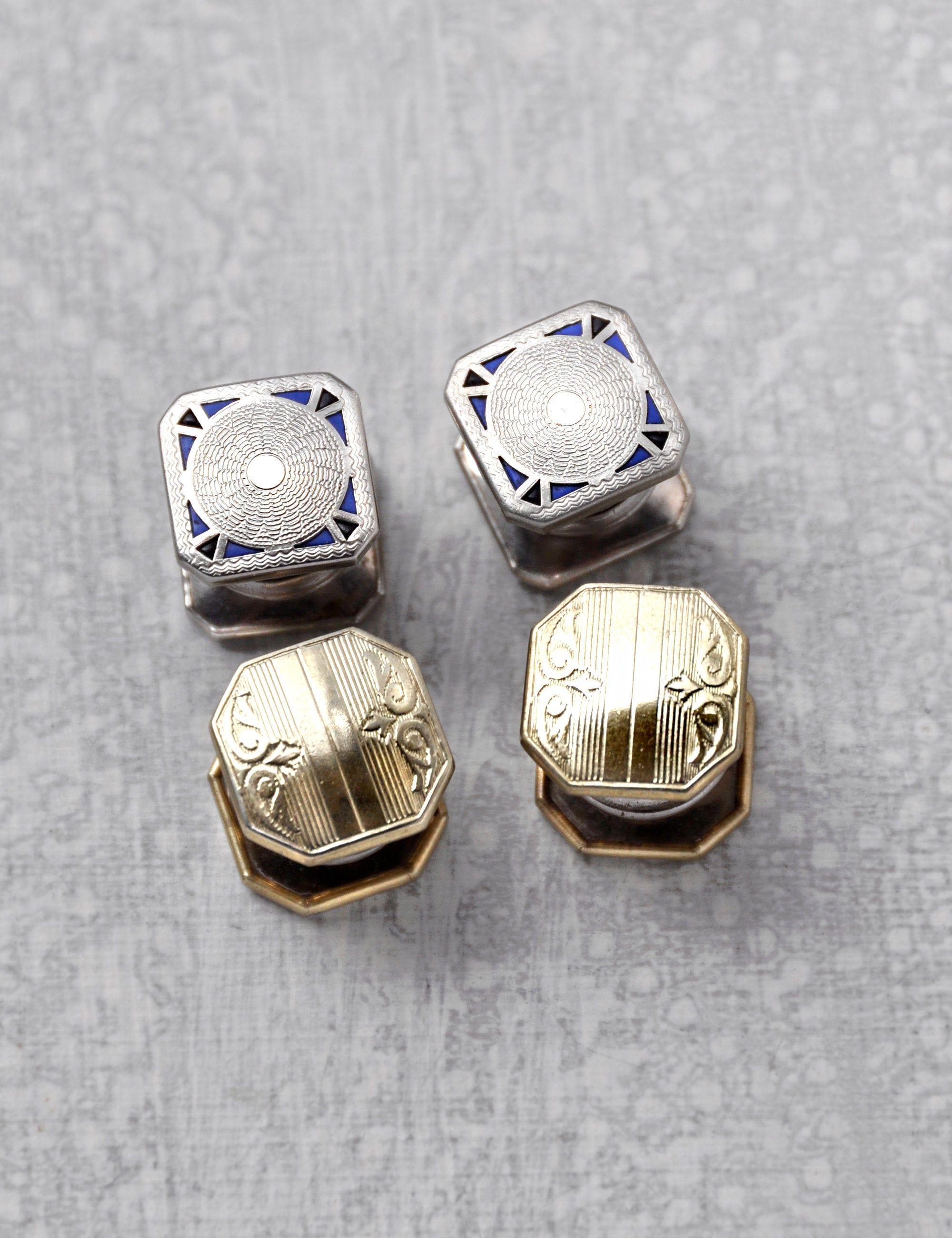 EDWARDIAN Antique 1920s Silver DRAGON/'S BREATH Art Glass Cuff Links /& Stickpin Downton Nouveau Cufflinks Jabot Pin 3 pc Vintage Jewelry Set