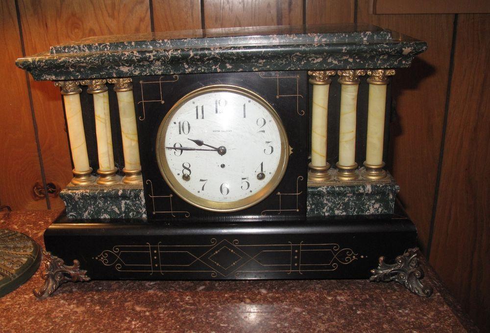 Antique Vtg Seth Thomas Adamantine Mantle Clock Key 6 Celluloid