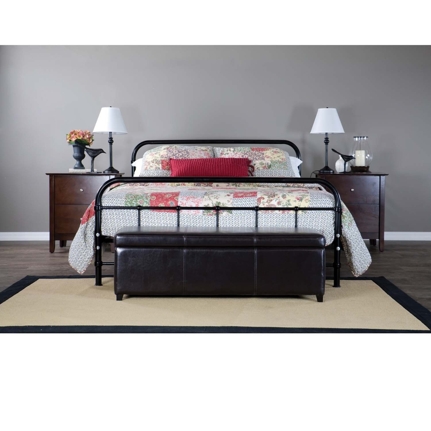 Baxton Studio Timolin Antique Iron Metal Black Queen Bed -