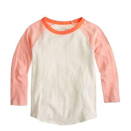 52b54efe Girls' colorblock baseball tee - long-sleeve tees - Girls' knits & tees -  J.Crew