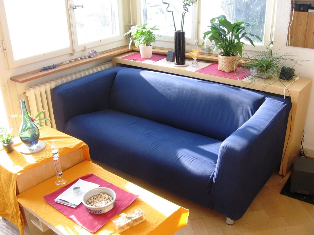 blue sofa decorating ideas latex bed chic ikea couch
