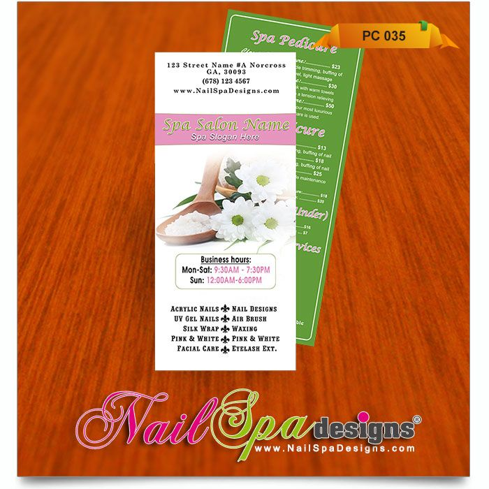 Price List template for Nail Salon Visit wwwNailSpaDesigns - price list templates