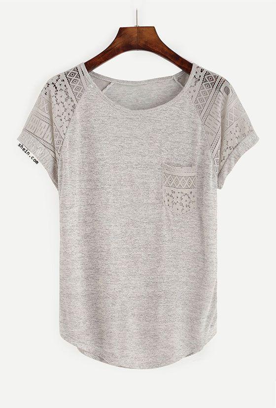Contrast Lace Raglan Sleeve Tee   blusas   Pinterest   Blusas ...