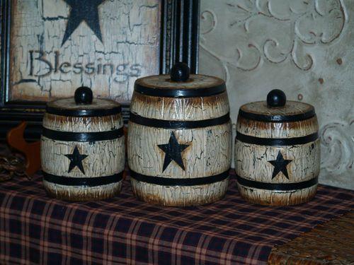 Country Farm House Cowboy Primitive Star Canister Set Vintage Barrel Set Ebay Primitive Decorating Country Western Kitchen Decor Primitive Canisters