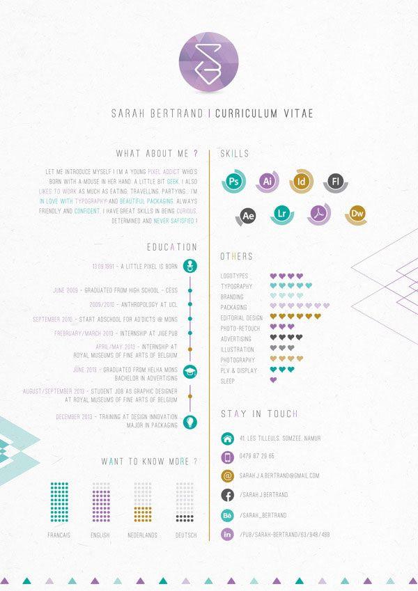 40 Creative Cv Resume Designs Inspiration 2014 Web Graphic Design On Bashooka In 2020 Graphic Design Resume Resume Design Inspiration Graphic Design Cv
