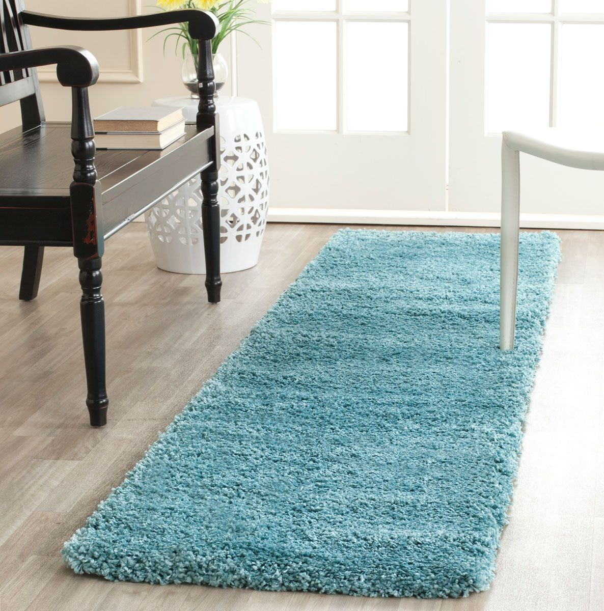 Shag Collection SG180-6060 Color: Aqua Blue  - #safavieh #safaviehrugs #safaviehrunners #rugrunners #rugs #hallwayrugs #entrywayrugs #staircaserugs #staircasecarpets #entrywaycarpts #bedroomrugs #livingroomrugs #diningroomrugs #kitchenrugs #hallwaydecor #entrywaydecor #shoprugs #runnercarpets #bluerunnerrug #tauperunnerrug