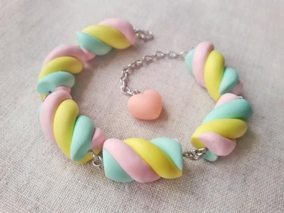 Marshmallow bracelet, candy bracelet, fairy kei, sweet lolita, miniature food jewelry, pastel goth, kawaii bracelet, clay charms, pastel #marshmallows