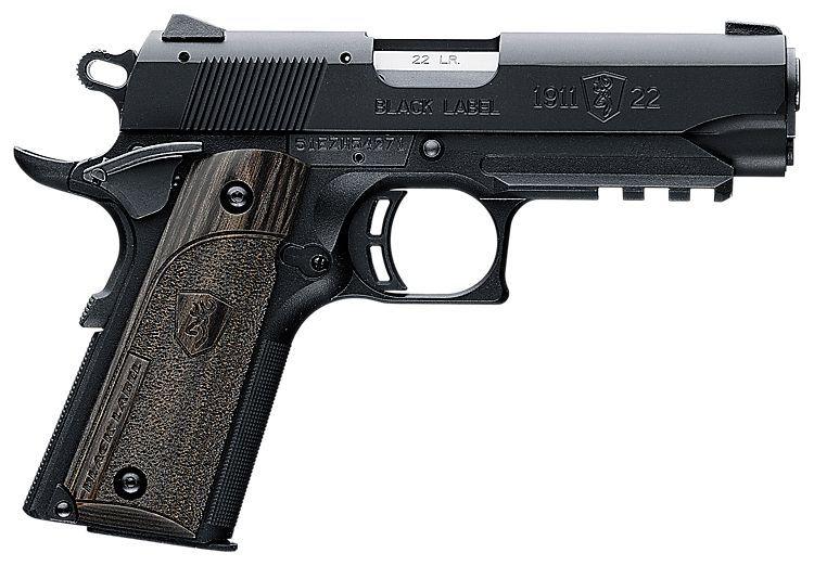 Browning 1911 22 Compact Black Label Laminate Semi Auto Pistol With Rail Pistol 22 Pistol Hand Guns