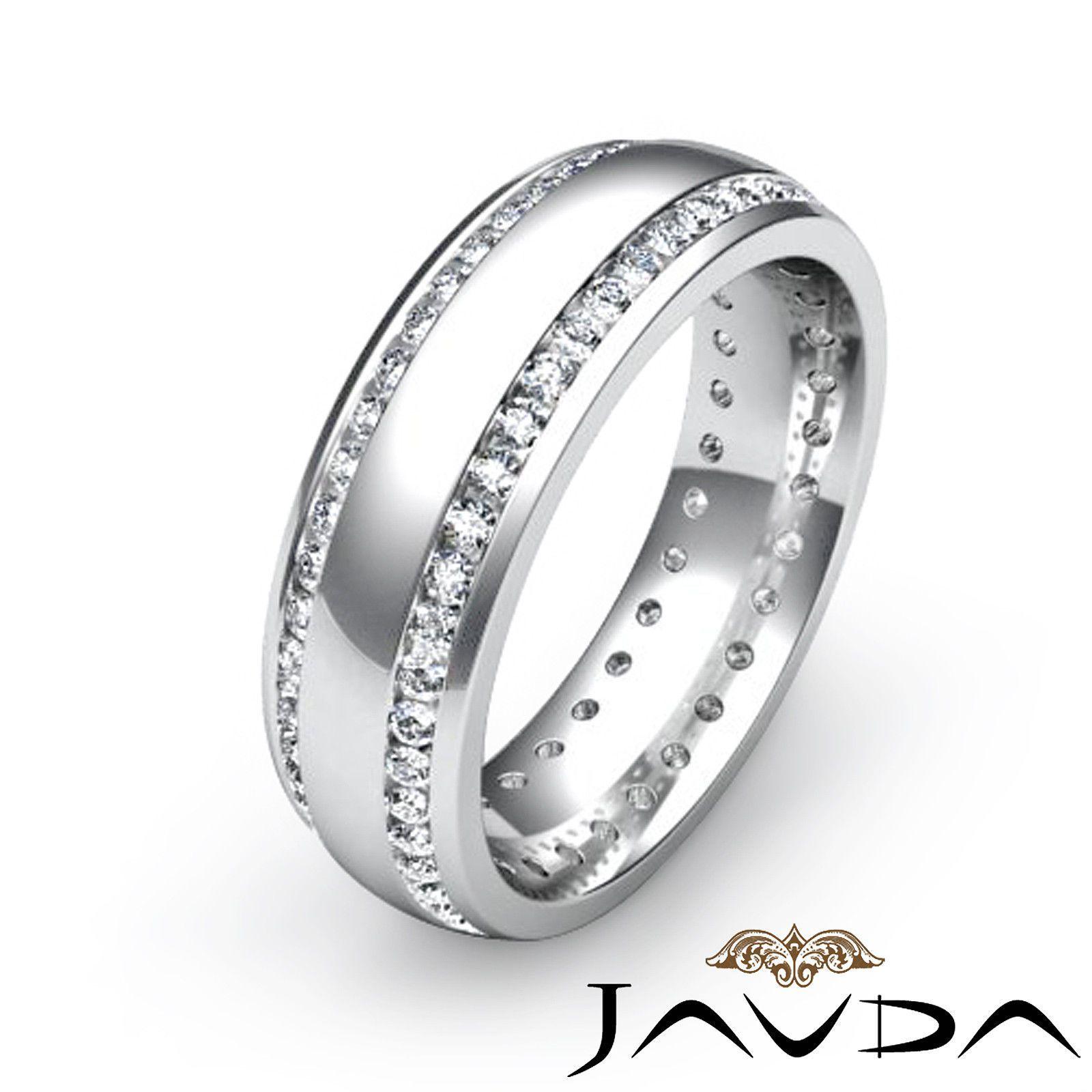 Mens Eternity Wedding Dome Band Round Bezel Diamond Ring