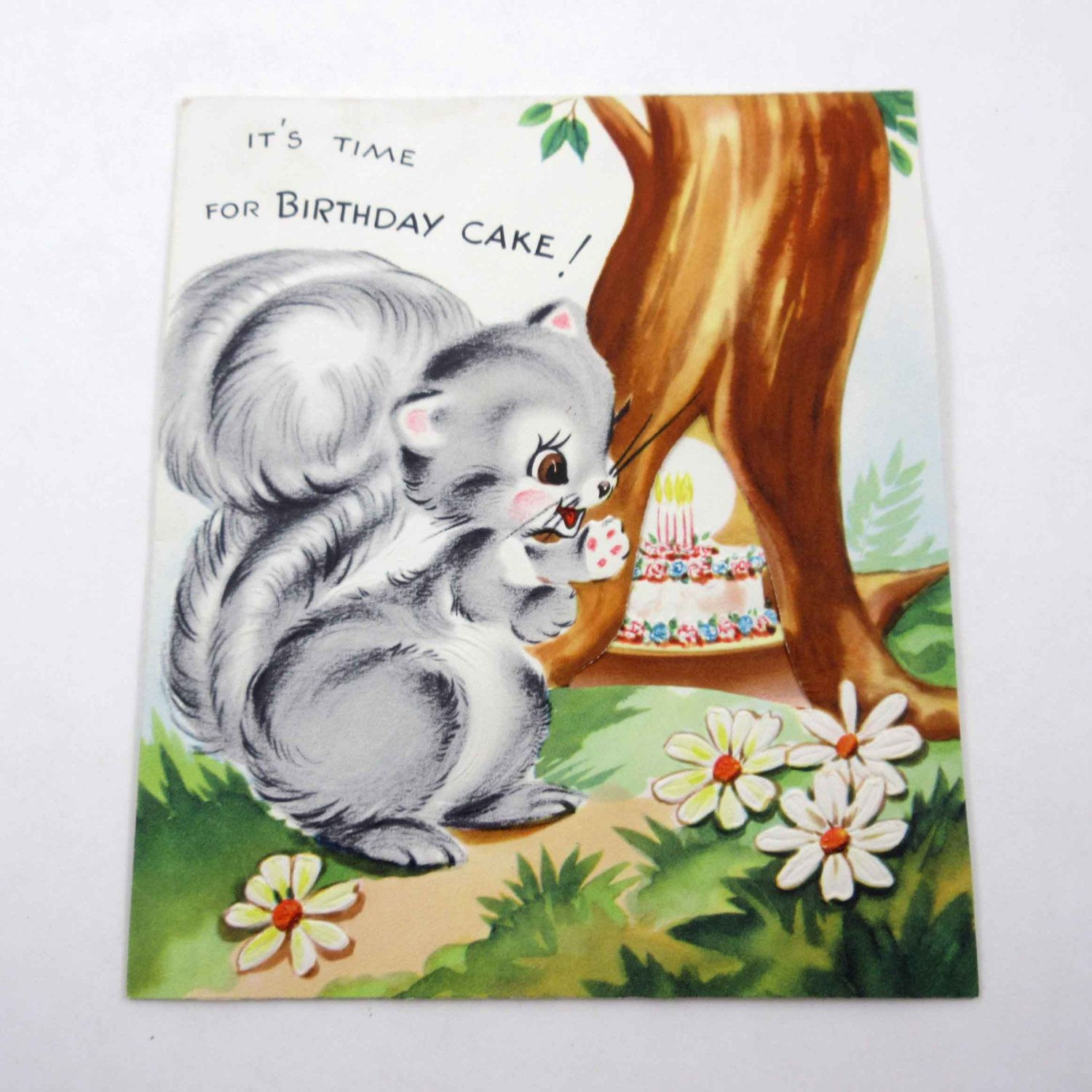 Vintage Novelty Birthday Greeting Card With A Squirrel And Etsy Vintage Birthday Cards Birthday Greeting Cards Card Making Birthday