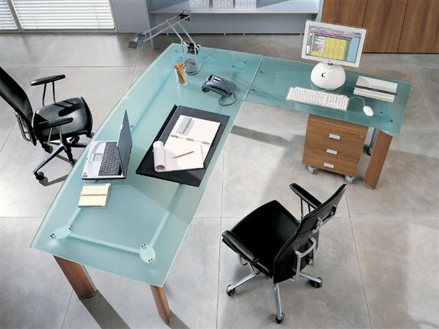 Bureau direction design plateau verre Lacour Mobilier Dco
